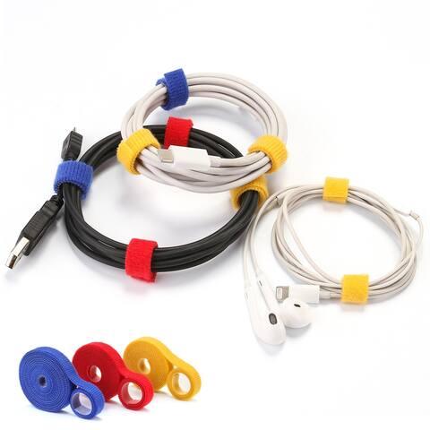 AGPtek Fastening Tape, Three Rolls (19.68 ft) +20 PCS Fastening Cable Ties Reusable Cable Straps & Cable Strap Organizer