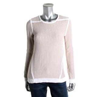 Calvin Klein Womens Contrast Trim Jewel Neck Pullover Sweater