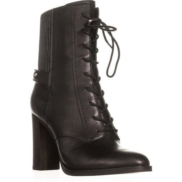 MICHAEL Michael Kors Carrigan Bootie Lace Up Mid-Calf Boots, Black
