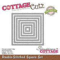 "Double Stitch Square .5""X.5"" To 3.5""X3.5 - Cottagecutz Basics Dies 7/Pkg"