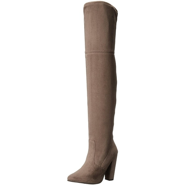 Steve Madden Womens Rocking Thigh-High Boots Faux Suede Seamed