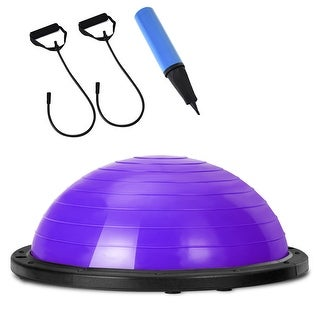 Gymax Fitness Strength Balance Yoga Ball Trainer Exercise Gym Pump Home Exercise - Purple