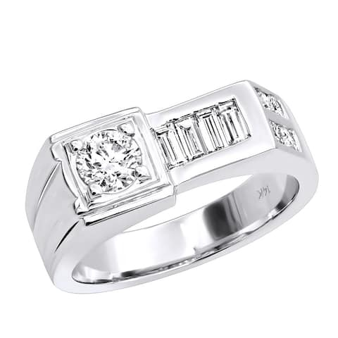 Men's Ring Baguette & Round Diamond Band 1.59ctw in 14k Gold by Luxurman