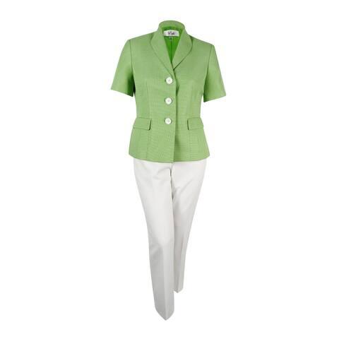 Le Suit Women's Colorblocked Three-Button Tweed Pantsuit