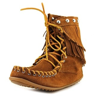 Rebecca Minkoff Double Fringe Tramper Women Round Toe Leather Brown Ankle Boot