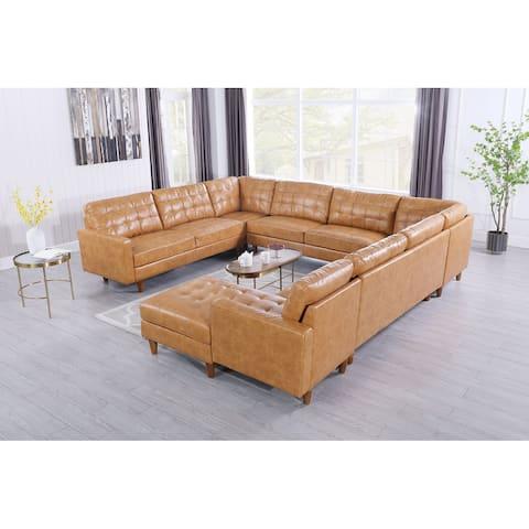 Corvus Oreanne Modern 6-piece Tufted Faux Leather Sectional Sofa
