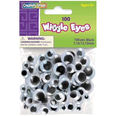 Paste-On Wiggle Eyes Assorted 7mm To 15mm 100/Pkg-Black - Black