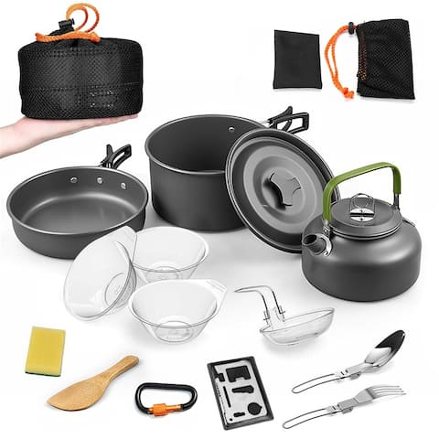 14 PCS Camping Cookware Mess Kit with Kettle, Aluminum Lightweight Folding Camping Pots and Pans Set