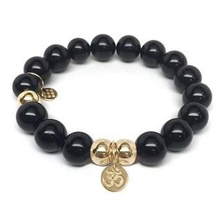 Julieta Jewelry Om Charm Black Onyx Bracelet