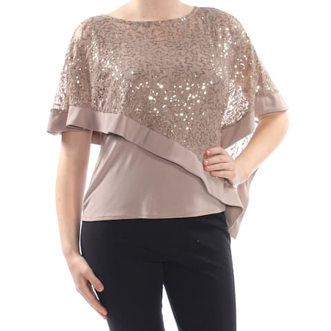 R&M RICHARDS Womens Brown Embellished Sequined Cape Overlay Evening Top Plus Size: 18W