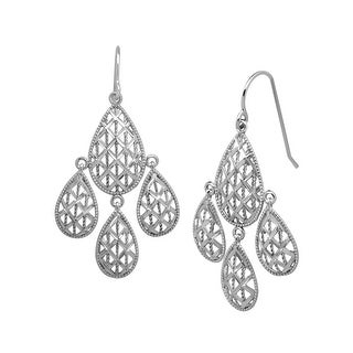 Just Gold Chandelier Mesh Earrings in 10K White Gold