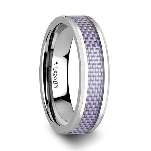 THORSTEN - IRIS Beveled Tungsten Wedding Band with Purple Carbon Fiber Inlay - 6mm