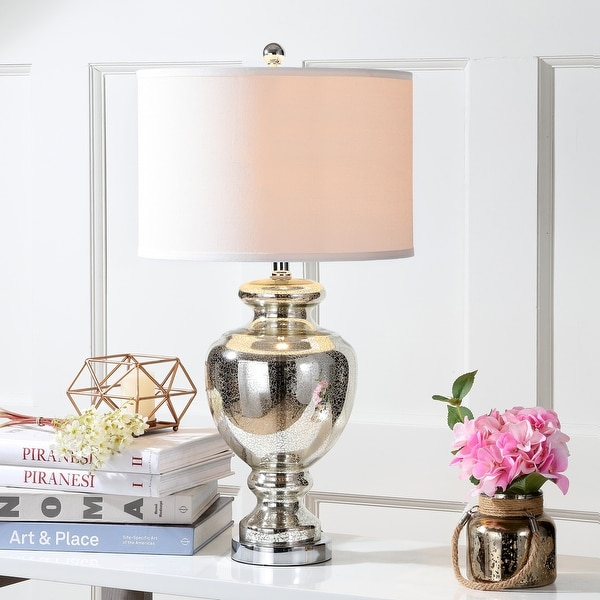 """Safavieh Lighting 28-inch Morocco Mercury Glass Table Lamp (Set of 2) - 15""""x15""""x28"""". Opens flyout."""