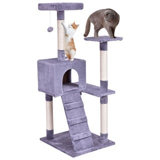 Gymax Gray 52u0026#x27;u0026#x27; Cat Tree Tower Condo Furniture Scratching