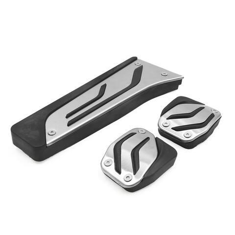 3Pcs Silver Tone Car Accelerator Brake Clutch Foot Footrest Pedals Pad Kit for BMW X3 X5 Z4