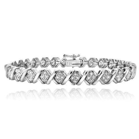 DB Designs 1ct TDW Diamond X Tennis Bracelet
