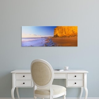 Easy Art Prints Panoramic Images's 'Cliff on the beach, Burton Bradstock, Dorset, England' Premium Canvas Art