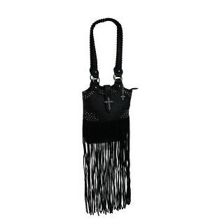Floral Embossed Long Fringe Studded Shoulder Bag - Black