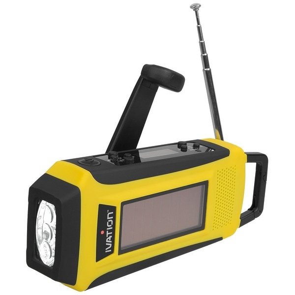 Ivation Solar Crank NOAA Weather Emergency Radio, LED Flashlight, Smartphone Charger with Cable, Rechargeable & Rainproof