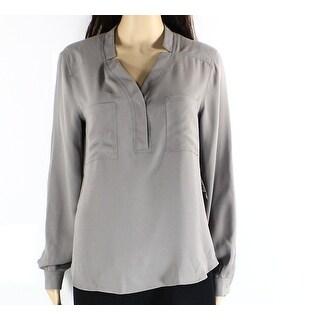 Nine West NEW Gray Women's Size XL Split-Neck Pocket-Front Blouse