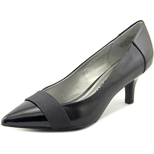 Anne Klein AK Finn Pump Women Pointed Toe Leather Black Heels