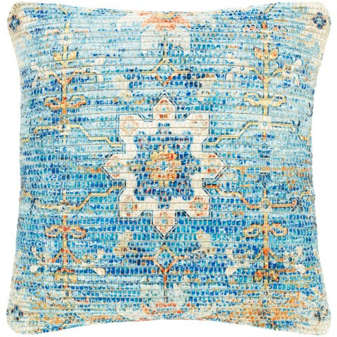 The Curated Nomad Powers Blue Medallion 18-inch Throw Pillow with Down or Poly Fill