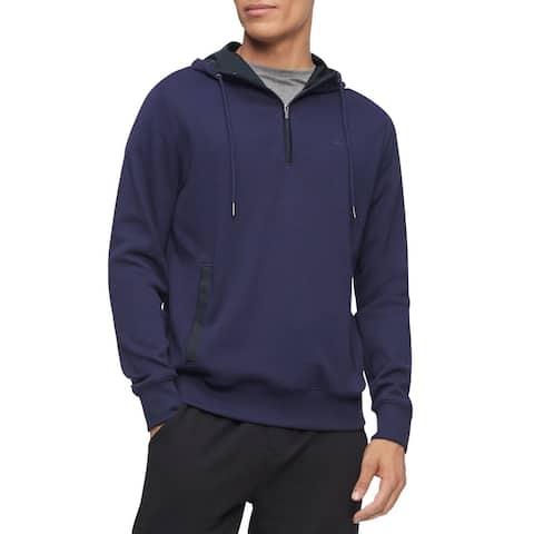 Calvin Klein Mens Hoodie Blocked Quarter Zip Pullover