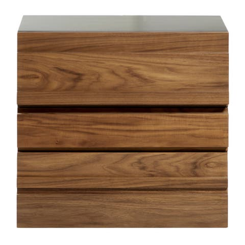 2-Drawer Contemporary Wood Nightstand with Power and USB Outlets 25 inch  x 23 inch