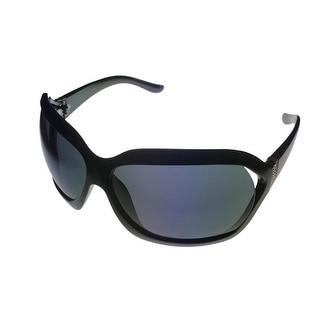 Jill Stuart Womens Sunglass 1032 2 Black Silver Rectangle Plastic, Smoke Lens - Medium