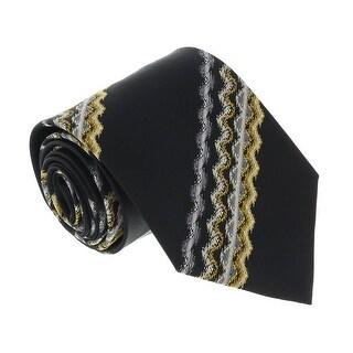Missoni U3829 Black/Gold Sharkskin 100% Silk Ties - 60-3