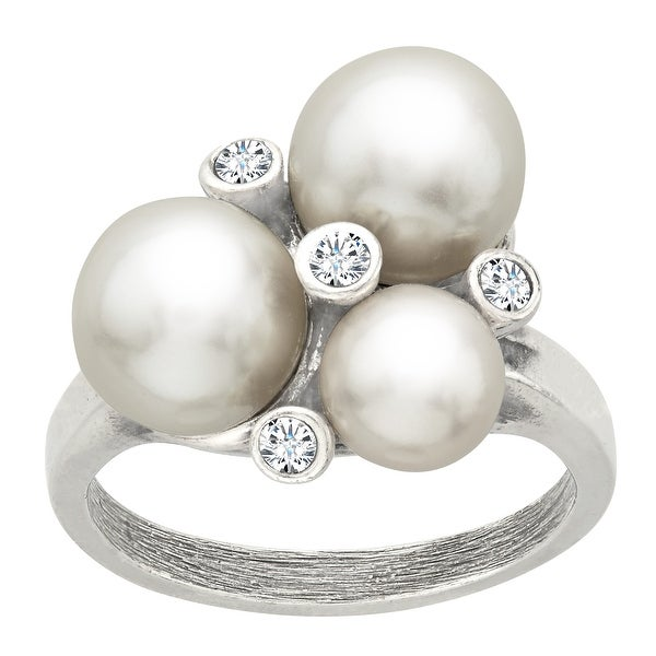 Van Kempen Art Deco Pearl Ring with Swarovski Crystals in Sterling Silver