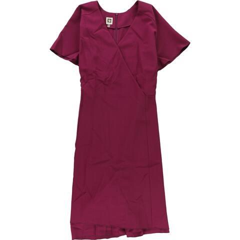 Anne Klein Womens Asymmetrical-Hem Sheath Dress