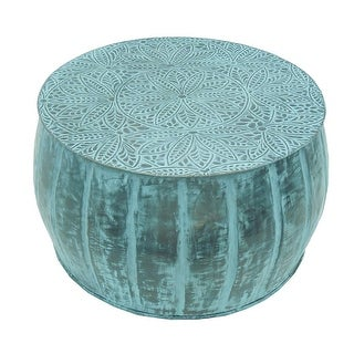 Round Accent Metal Drum Coffee Table with Patina Finish - Turquoise