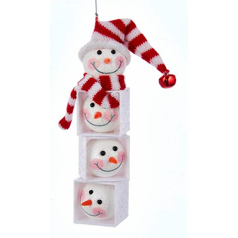 Kurt Adler Snowman Heads Stacked in Blocks Holiday Ornament