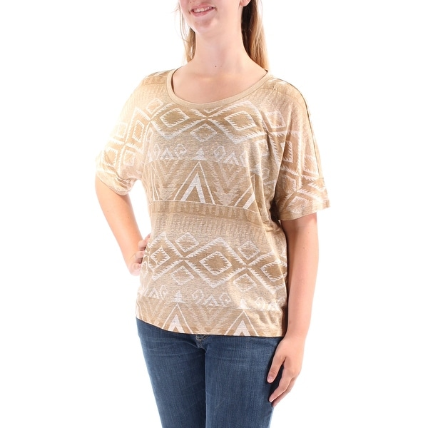RALPH LAUREN Womens Brown Tribal Short Sleeve Jewel Neck T-Shirt Top Size  M 571ee57d8