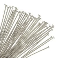 Head Pins, 1.5 Inches Long and 21 Gauge Thick, 50 Pieces, Soft Silver Plated Brass