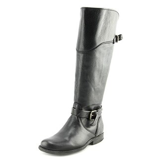 Frye Phillip Riding Extended Calf Women Round Toe Leather Black Knee High Boot