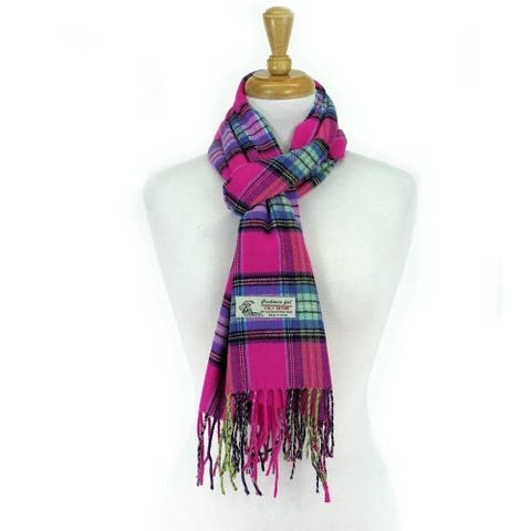 Plaid Cashmere Feel Classic Soft Luxurious Scarf For Men and Women - Hotpink