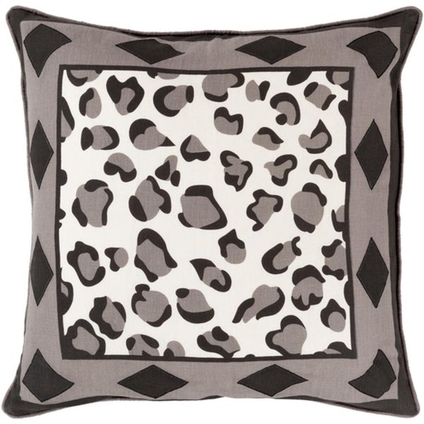 """18"""" Jet Black and Ash Gray Leopard Print with Diamonds Decorative Throw Pillow - Down Filler"""