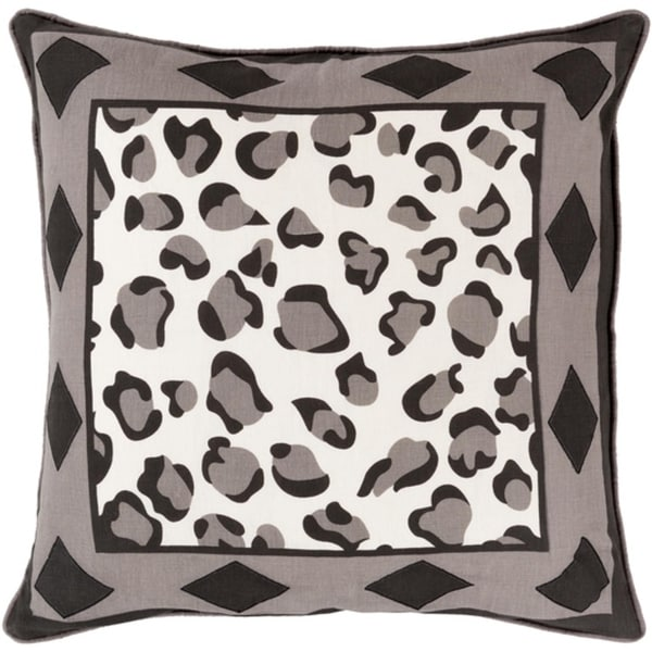 "20"" Jet Black and Ash Gray Leopard Print with Diamonds Decorative Throw Pillow – Down Filler"