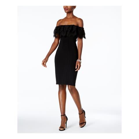 BETSY & ADAM Black Short Sleeve Knee Length Dress Size 2