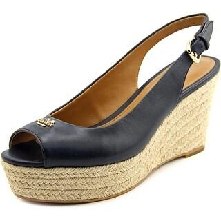 Coach Ferry Women Open Toe Patent Leather Blue Wedge Heel