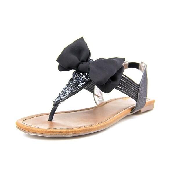Material Girl Swan Women Open Toe Canvas Black Thong Sandal