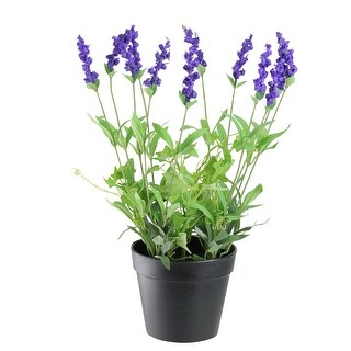 """18"""" Green and Black Potted Artificial Flowering Lavender Plant"""