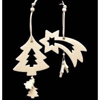 """Club Pack of 18 Ivory White Tree And Shooting Star """"Felt Ornaments"""""""