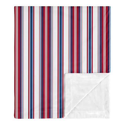 Red White and Blue Stripe Collection Boy Baby Receiving Security Swaddle Blanket Sports Americana for Baseball Patch Collection