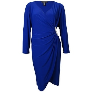 R&M Richards Women's Embellished Faux-Wrap Jersey Dress - 6