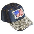 American Flag Sparkling Bedazzled Studded Patriotic Baseball Cap Hat, Denim, Dark Blue - Thumbnail 0
