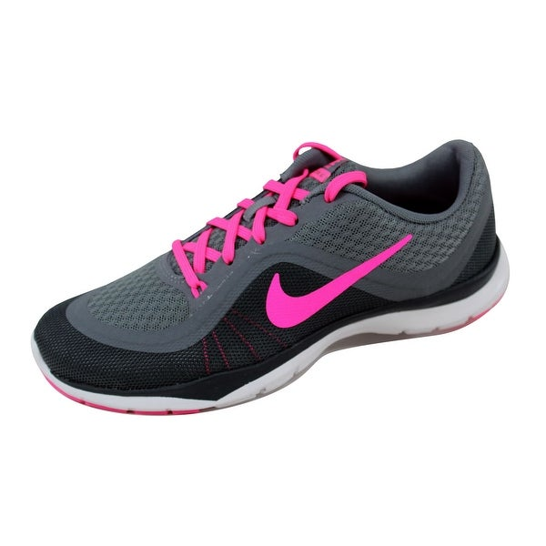 Nike Women's Flex Trainer 6 Cool Grey/Pink Blast-Dark Grey-Anthracite 831217-003 Size 7.5
