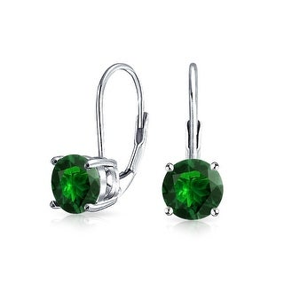Bling Jewelry 925 Silver Imitation Emerald Leverback Drop Earrings - Green